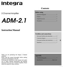 Onkyo Integra ADM-2 Amplifier Owners Instruction Manual