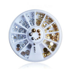 Acrylic Nail Art Tips Gems Round Pearl Rhinestones Silver Gold Decoration Wheel