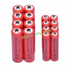 8 AA 3000mAh + 8 AAA 1800mAh Ni-Mh Rechargeable Battery Cell for MP3 RC Toy Red