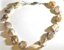 """18""""  Natural White Pearl Baroque String Necklace 925 Sterling Silver"""