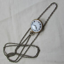 VINTAGE Double Chain Necklace with Clock Face /Filigree Pendant (15098088p)