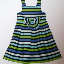 "Gymboree ""Full of Glee"" Blue & Green Striped Sun Dress, 4"
