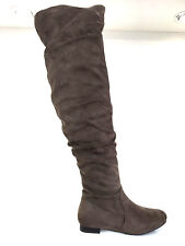 LADIES WOMENS OVER KNEE KHAKI SUEDE STYLE LOW HEEL SLOUCHY BOOTS SHOES SIZE 8