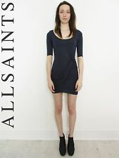 STUNNING WOMENS ALL SAINTS TWAIN DRESS SOFT JERSEY DRAPE KNOT BLUE MARL 4 6 £98