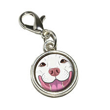 White Pit Bull Face - Pitbull Dog Pet - Bracelet Charm with Lobster Clasp