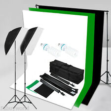 125W Studio Softbox Continuous Lighting Set + 3 Backdrop background Stand + Bag