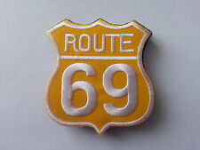 CLASSIC AMERICAN HIGHWAY ROAD SIGN SEW / IRON ON PATCH:- ROUTE 69 WHITE YELLOW