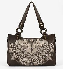 ISABELLA FIORE Brown Leather Cream Embroidered Large Hobo Shoulder Bag Purse