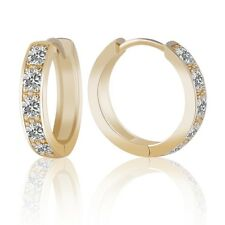 Brilliant Jewelry 14k Gold Filled Lady Sapphire Crystal Fashion Hoop Earrings