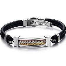Men's Unisex Stainless Steel Rubber Bracelet G62