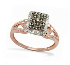 Pagoda Style 100% 10K Rose Gold Chocolate Brown & White Diamond Ring .18ct tw
