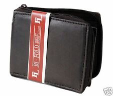 New Mens Bifold Zipper Around Dark Brown Leather Wallet Secure id cards Window