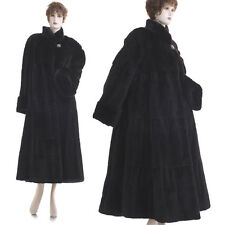 Mint! XL! Paolo Gucci Black Sheared Mink Fur Tired Pleated 123 in. Swing Coat
