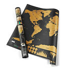 Deluxe Travel Edition Scratch Off World Map Poster Personalized Journal Log Gift