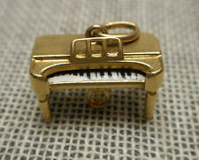 Vintage 14K Yellow Gold Charm - Antique European Style Square Grand Piano