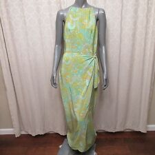 Maggy London Green Retro Abstract Silk Sleeveless Wrap Skirt Long Dress Sz 8 M