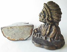 Antique Cast Iron Indian Cheif Bookends Book Ends