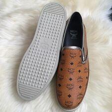 Authentic MCM Leather Women's Visetos Monogram Slip On Sneakers Cognac Size 8