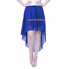 Royal Blue - Chiffon Asym Skirt Women Lady Girl Jupe High Low Maxi Asymmetrical