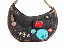 Guess Vintage Style Handbag Brown Shoulder Bag Patches Buttons Hipster Purse