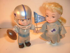 Rare!! Old 1970's Detroit Lions & Cheerleader Horsman Wind Up Football Dolls
