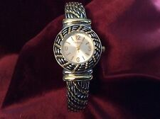 Chico's Watch Two Tone Bangle Cuff Watch Silver and Gold Tone Rope Twist Works