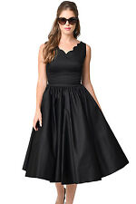 Black Scallop Neck Cinched Waist Ladylike Vintage Midi Dress Small