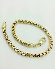 "14k Yellow Gold Diamond Cut Round Box Bracelet Chain 7.5"" 3.0mm BEST PRICED!!"