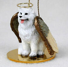 Samoyed Dog Figurine Ornament Angel Statue Hand Painted