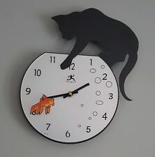 Fishbowl Cat Wall Clock Paw Dipping Into Goldfish Bowl Bubbles Feline Lover
