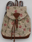 Blumen Rucksack Gobelin Damen Tasche Rote Rosen Backpack Tapestry