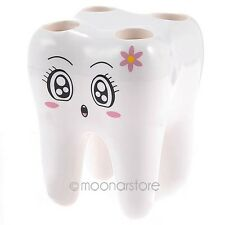 Cute Creative 4 Holes Tooth Shaped Toothbrush Holder Bathroom Accessory SE