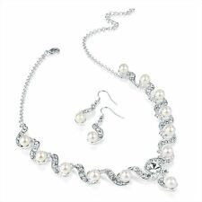 Silver & White Faux Pearl Colour Crystal Necklace & Earring Set Wedding Bridal