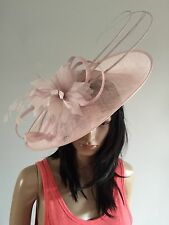 NIGEL RAYMENT PEARL PINK WEDDING DISC FASCINATOR HAT FORMAL MOTHER OF THE BRIDE