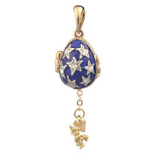 Faberge Egg Pendant / Charm with Stars & Angel 2.2 cm blue #0731-11