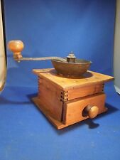 Antique Coffee Mill Grinder Wood and Cast Iron Top Handle Primitive Hand Crank