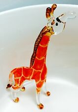 Giraffe Crystal Blown Glass Animal Figurine Orange Hand Painted Gift Collectible