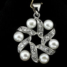 Sterling Silver 925 Genuine Natural Buton Pearl and White Topaz Pendant