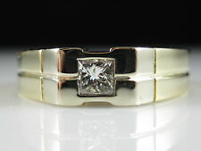 Princess Cut Diamond Ring .31ct H/VS2 14K Two-Tone Size 9 Solitaire Band Gents