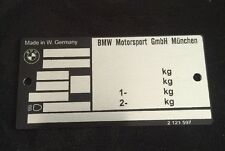 BMW M3 E30 vin plate Typenshild (alpina rennsport ti body part)