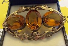 Fabulous Ladies Large Antique Victorian Rolled Gold Filled Citrine Colour Brooch