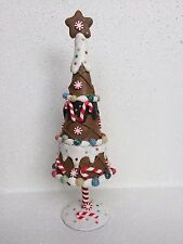 "10"" GINGERBREAD TREE FAKE CANDY CANE XMAS DECOR ICING STAR PEPPERMINT GIFT"
