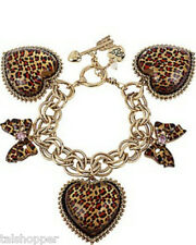 NWT BETSEY JOHNSON Leopard Bow Heart Rhinestone Charm Toggle Bracelet Great Gift