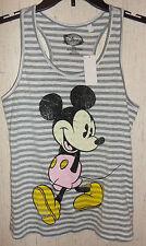 NWT WOMENS Disney Mickey Mouse GRAY & WHITE STRIPE KNIT TANK TOP   SIZE XS