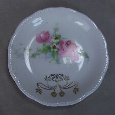Antique 3 1/8 Porcelain Embossed Scalloped Pink Rose Gold Scroll Butter Pat Dish