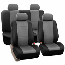 Gray & Black Car Seat Covers With PU Leather Full Set For Honda