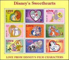 Palau 1996 disney/films/lions/chats/chiens/renards/lapins/love/coeurs 9v sht d00234q