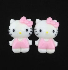 6pcs Cute Resin HELLO KITTY Pink Bow flatback Scrapbooking For DIY phone /craft
