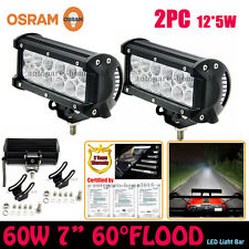 "OSRAM 7""INCH 60W LED LIGHT BAR FLOOD OFFROAD DRIVING LAMP 4WD JEEP CAR TRUCK"