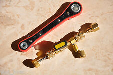 Schrader Valve Tool Kit:Ratchet Wrench Hex Square+Core remover installer HVAC/AC